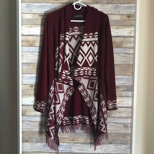 Almost Famous Long Open Front Maroon Knit Cardigan